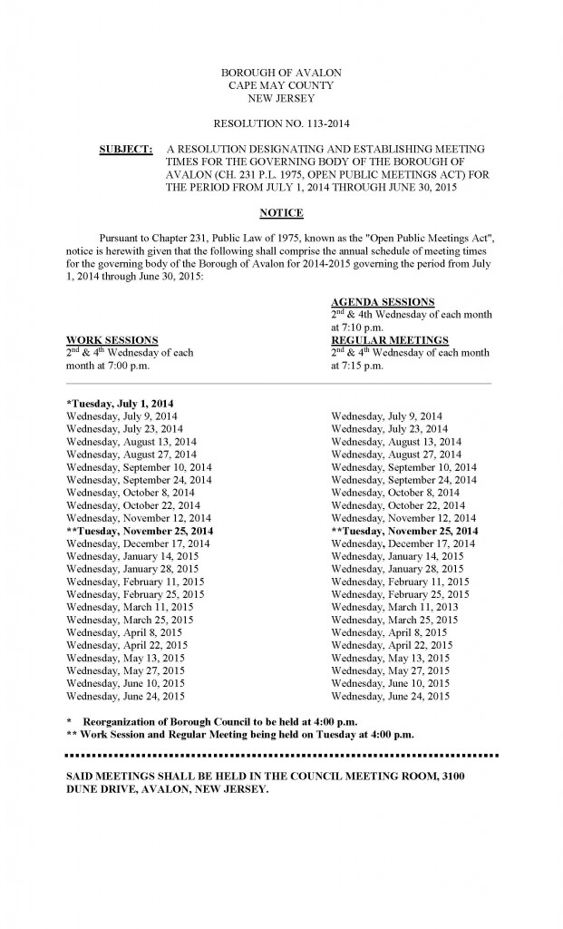 2014 15 Meeting schedule revised July 9 2014