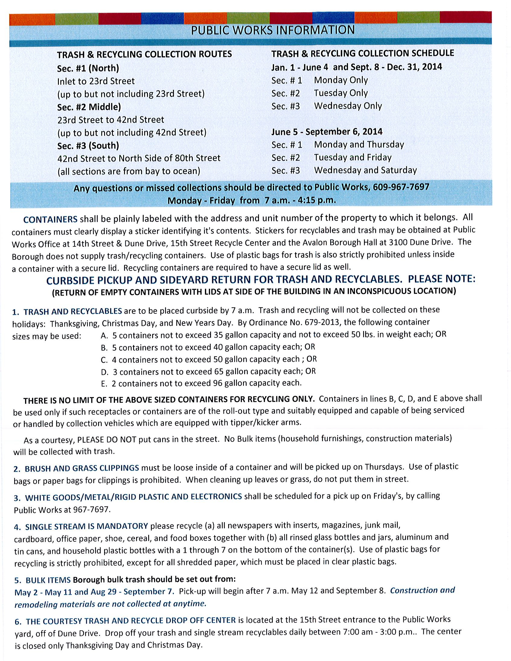 View Trash/Recyclables/Bulk Trash Collection Schedule for Avalon ...