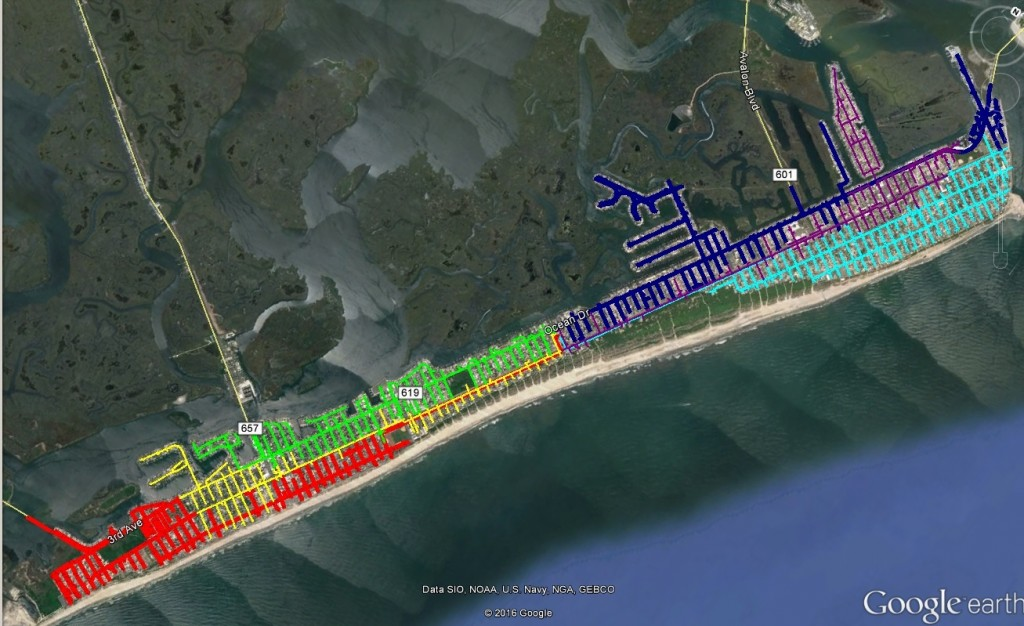 "This color coded map shows the two new distribution feeders to be provided by Atlantic City Electric. The feeder in northern Avalon in light blue is ""Ocean""; the feeder in red is ""Hereford"""