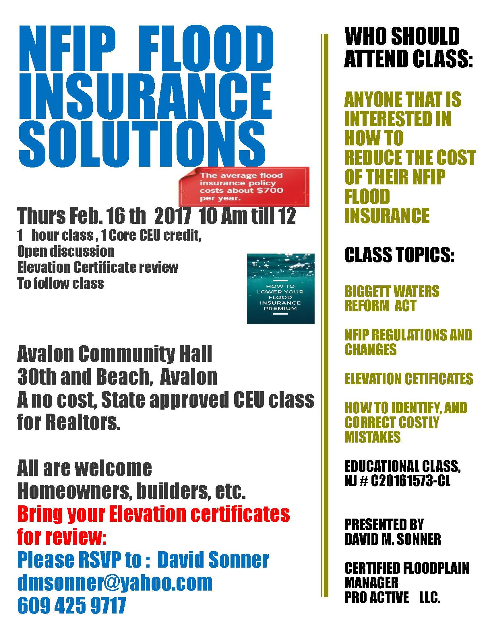 Flood Insurance Premium Reduction Seminar In Avalon Thursday