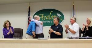 Mayor Pagliughi congratulates Councilman Covingt