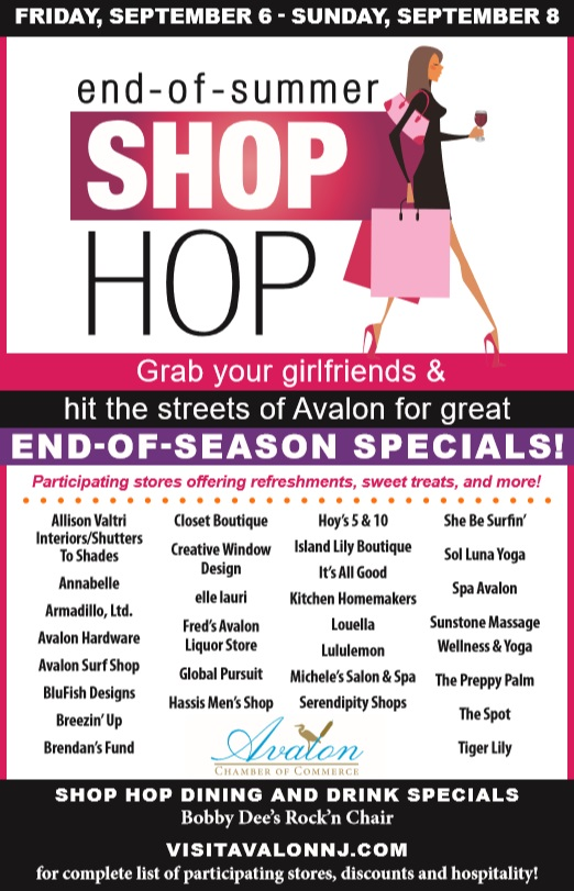 Avalon Chamber of Commerce End of Summer Shop Hop September 6-8th